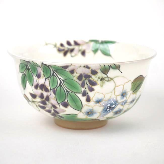 京焼  清水焼 花うつろいご飯茶碗 陶あん 大
