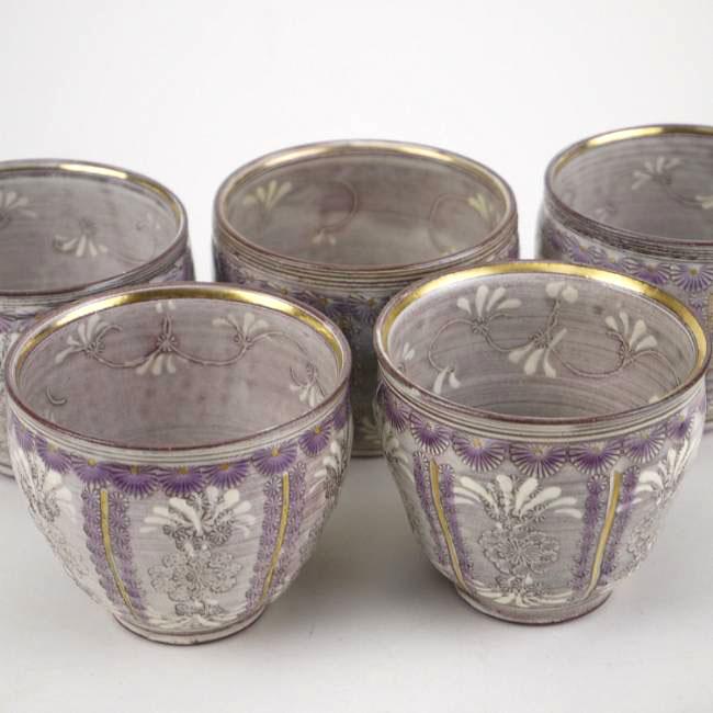 京焼  清水焼 紫彩花紋お茶呑茶碗揃え 陶楽