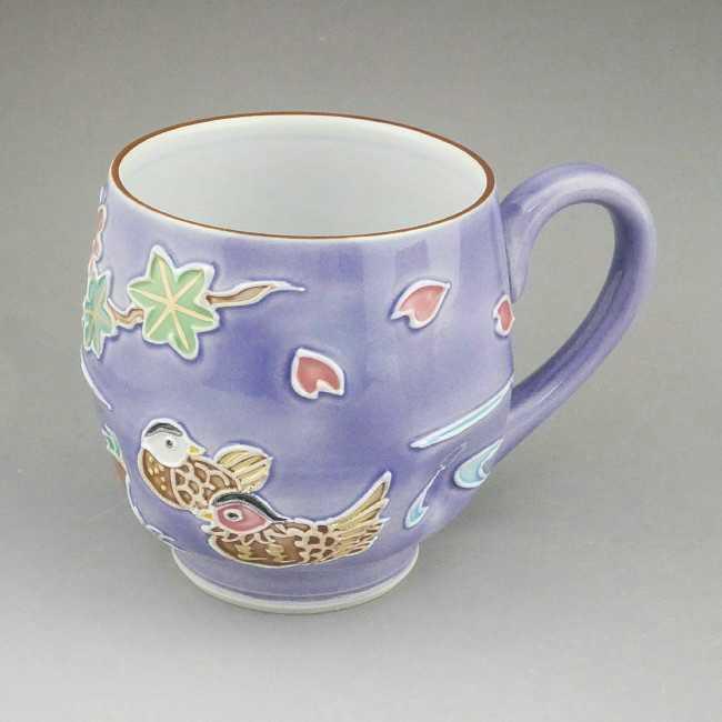 京焼  清水焼 雲錦おしどりマグカップ 昇峰 紫