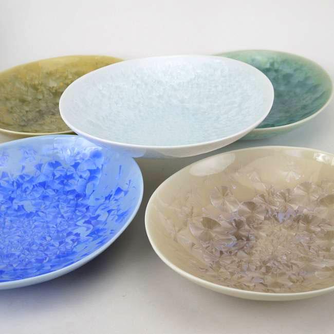 京焼  清水焼 花結晶楕円皿揃え 陶あん