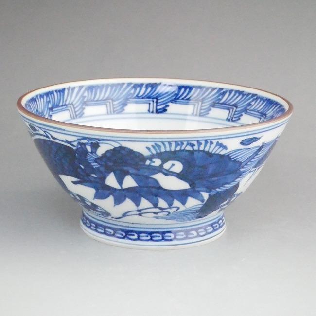 京焼  清水焼 平八龍ご飯茶碗 中