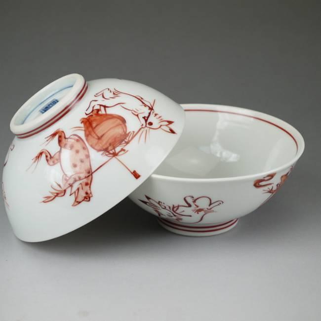 京焼  清水焼 鳥獣戯画赤絵夫婦小茶碗 壺と相撲 芳山