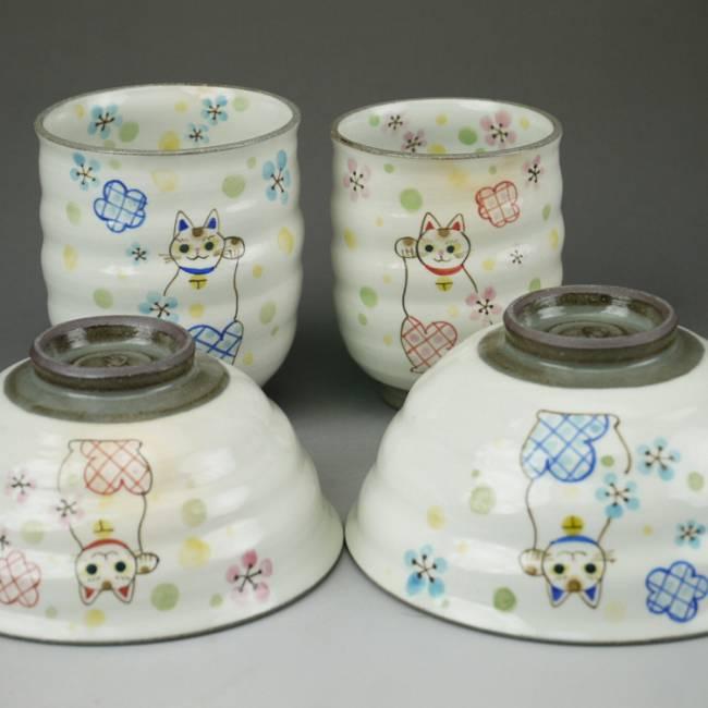 京焼  清水焼 まねき猫夫婦湯呑と夫婦茶碗セット 嘉峰