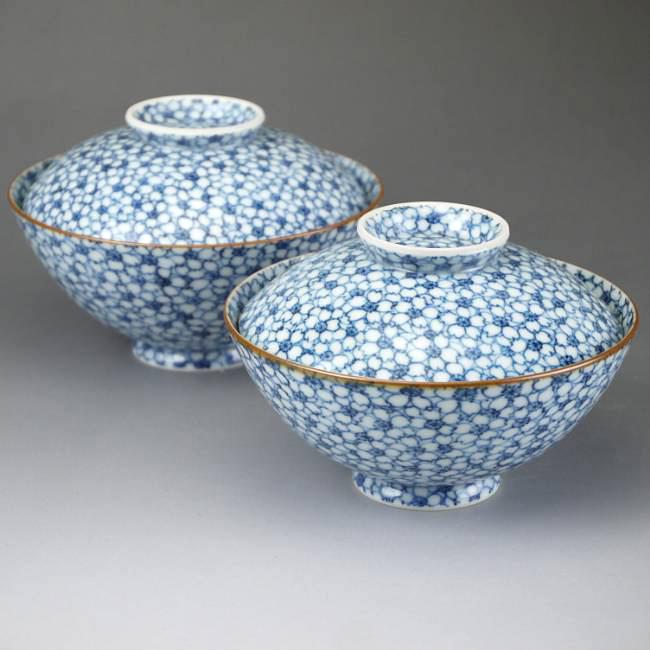 京焼  清水焼 染付桜詰蓋付夫婦茶碗 京泉