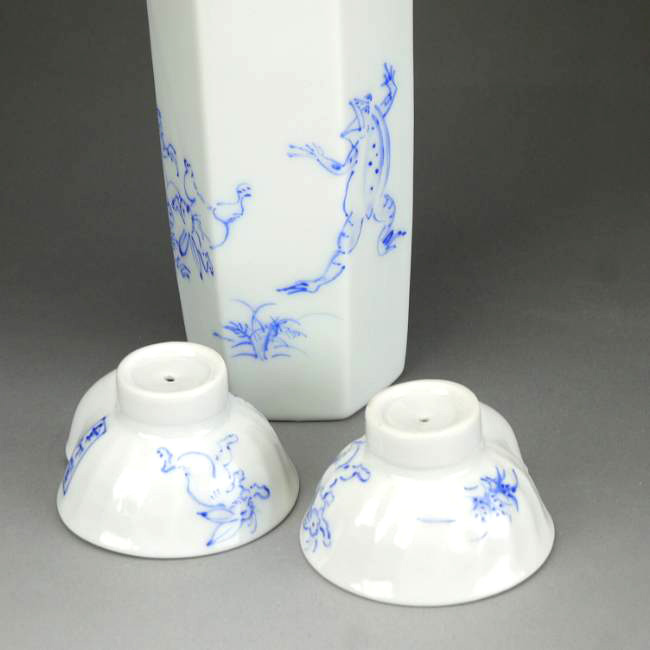 Kyoto Kiyomizu-yaki Sensei Nightingale sake set blue