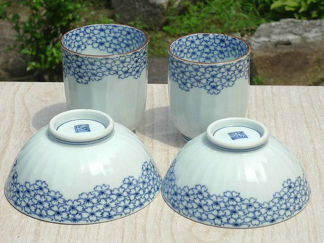 京焼  清水焼 桜詰縁夫婦湯飲みと夫婦茶碗セット 芳山