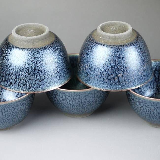 Kiyomizu ware tenmoku cursor out bowls aligned Hashimoto Daisuke B pattern