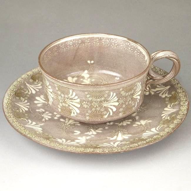 京焼  清水焼 紫翠紋紅茶茶碗  双花 陶楽