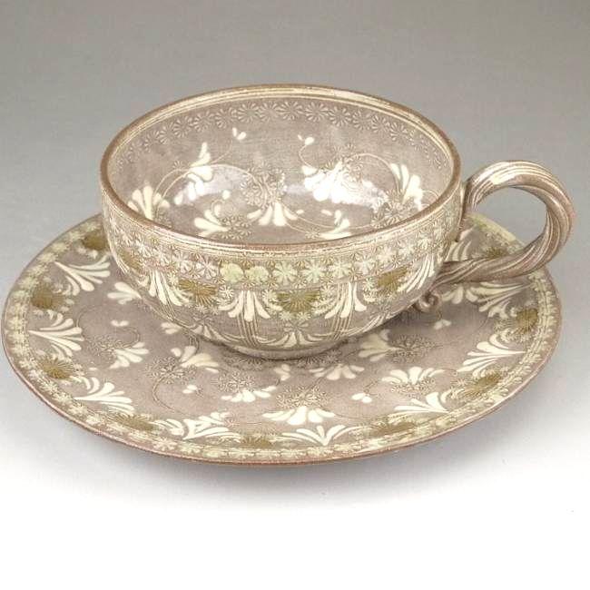 京焼  清水焼 紫翠紋紅茶茶碗  瓔珞 陶楽
