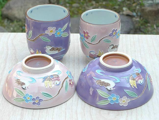 京焼  清水焼 交趾おしどり夫婦湯飲みと夫婦茶碗セット 昇峰