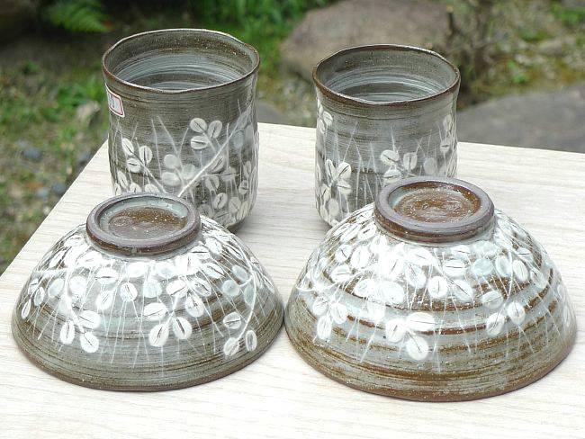 京焼  清水焼 萩がさね夫婦ゆのみと夫婦茶碗セット 清泉