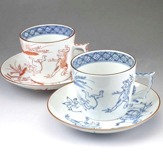 京焼  清水焼 染赤高山寺ペアコーヒー碗皿セット 貴