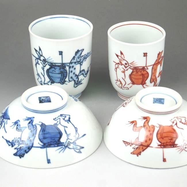 京焼  清水焼 染赤鳥獣戯画夫婦湯呑と夫婦茶碗セット 壺 芳山