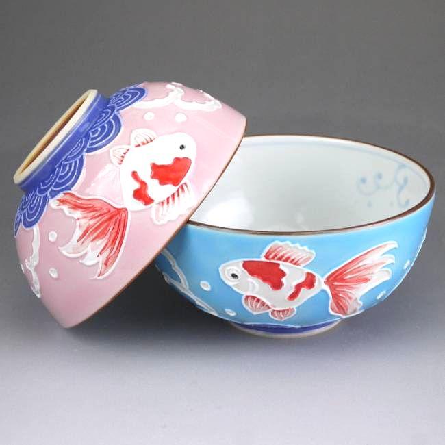 京焼  清水焼 交趾金魚夫婦茶碗 昇峰