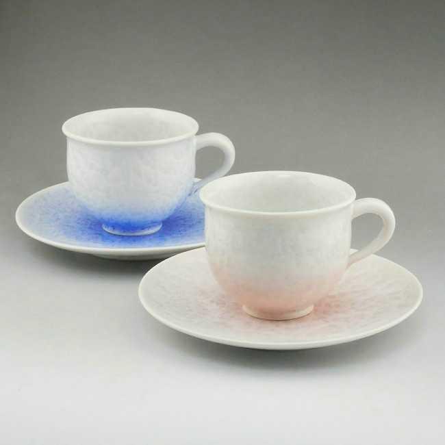 京焼  清水焼 花結晶ペアカップ&ソーサー 白地青赤