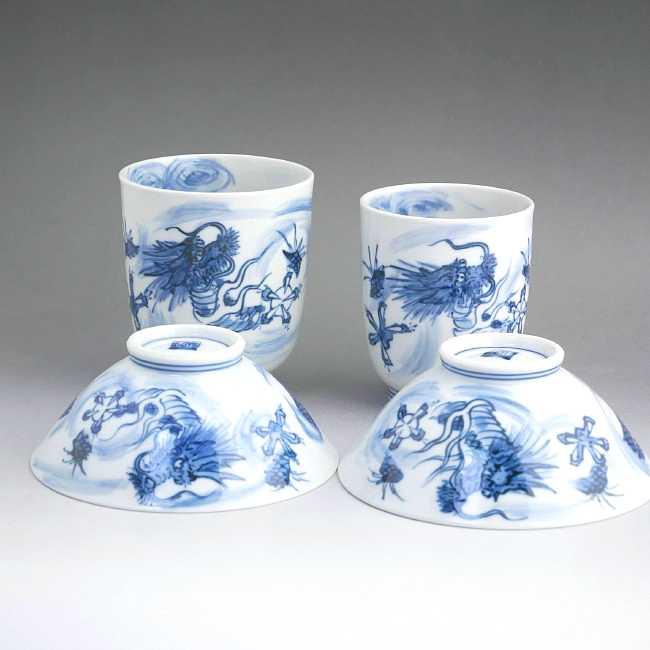 京焼  清水焼 昇竜夫婦湯飲みと夫婦茶碗セット 芳山