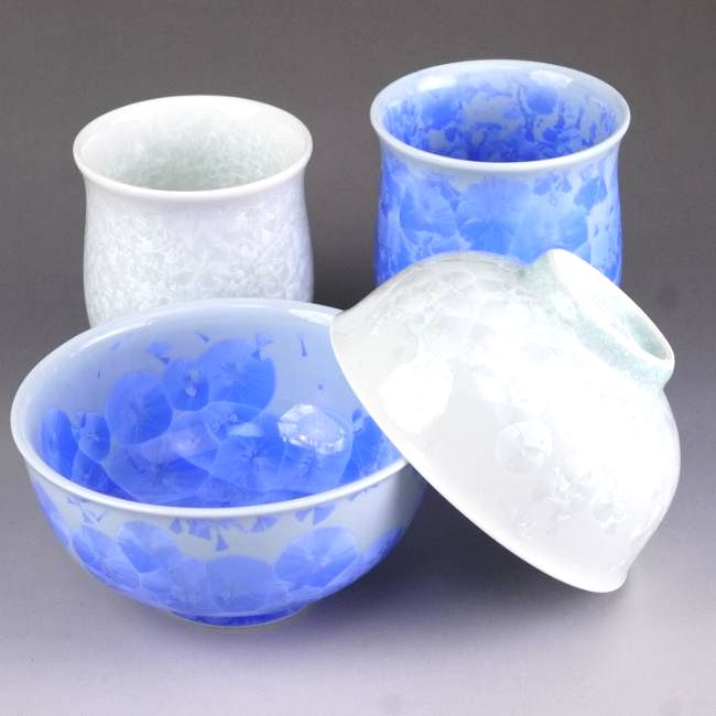 京焼  清水焼 花結晶夫婦湯呑と夫婦茶碗セット 青白 陶あん