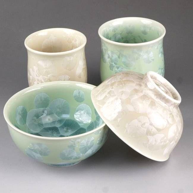 京焼  清水焼 花結晶夫婦湯呑と夫婦茶碗セット 緑茶 陶あん