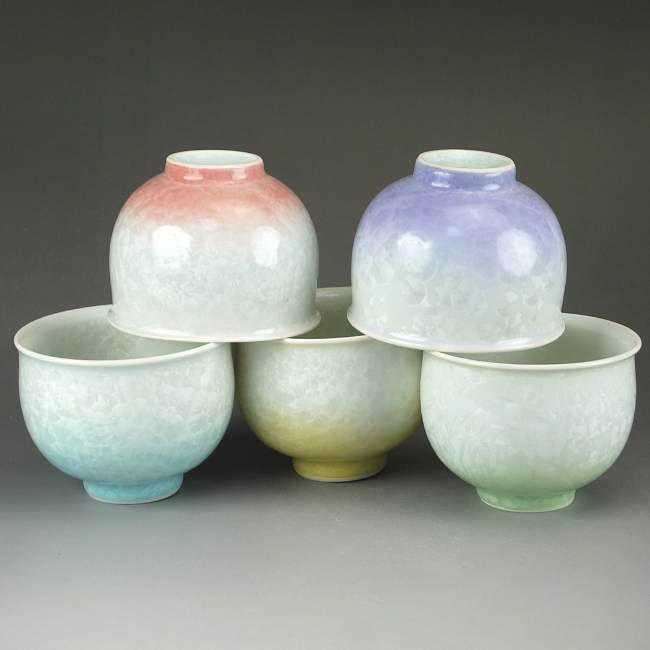 京焼  清水焼 五色花結晶お茶呑み茶碗揃え 陶あん