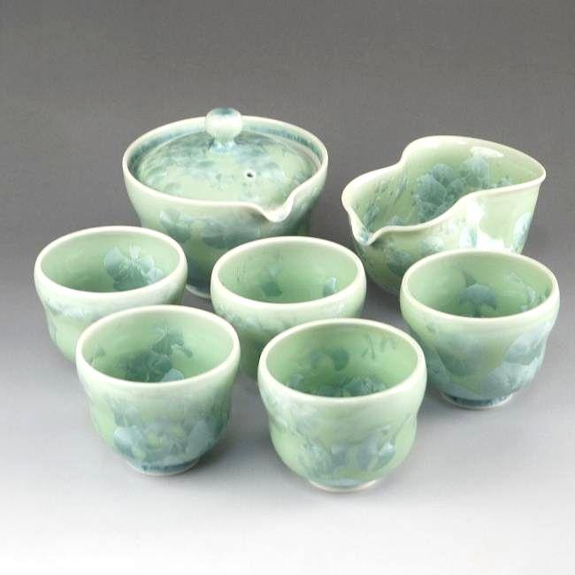 京焼  清水焼 花結晶瓢型小茶器揃 緑 陶あん