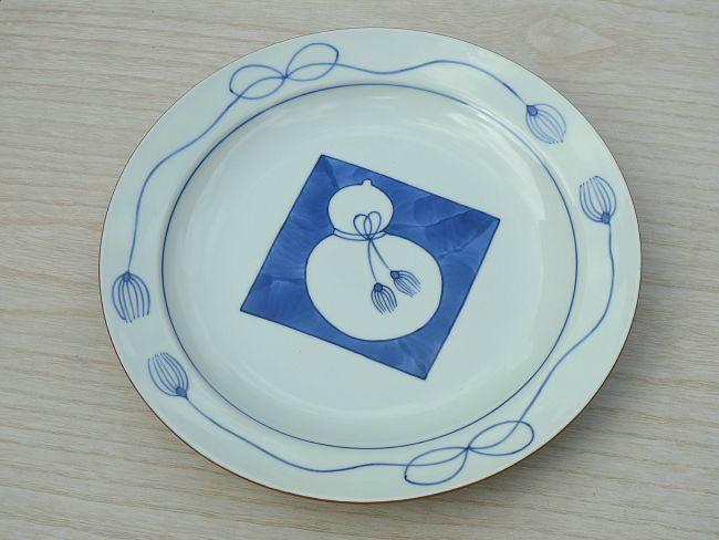 京焼  清水焼 染付ひさご8寸皿