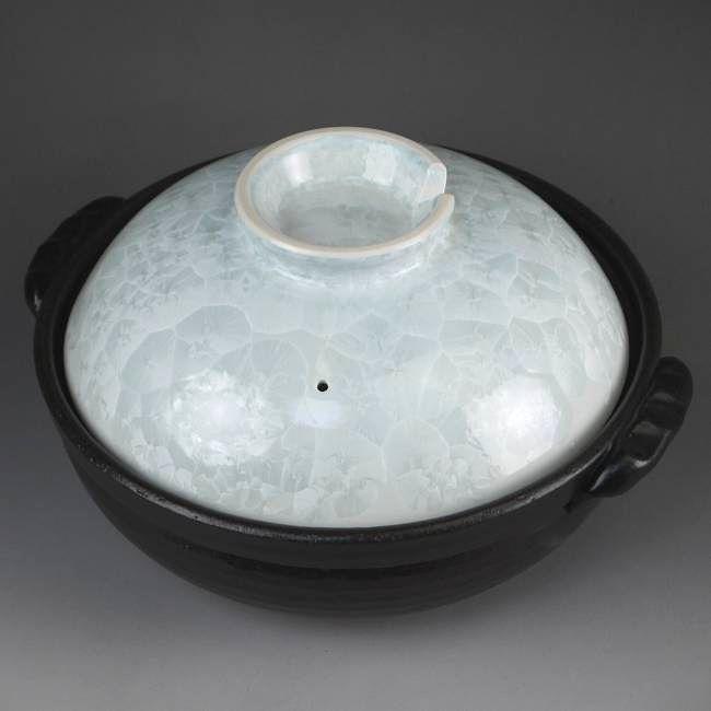 京焼  清水焼  花結晶土鍋 白 陶あん