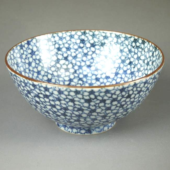 京焼  清水焼 染付桜詰ご飯茶碗 貴史 大