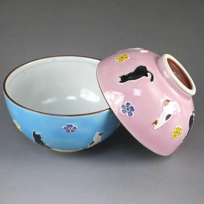 京焼  清水焼 交趾花ねこ夫婦茶碗 昇峰