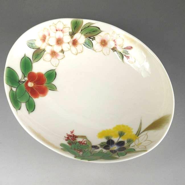 京焼  清水焼 四季の花楕円鉢 陶あん