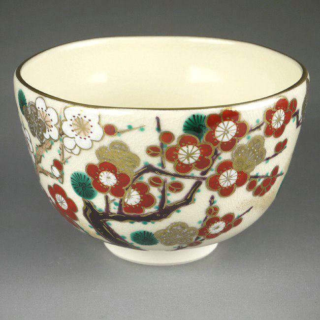 京焼  清水焼 仁清紅白梅抹茶茶碗 桜谷