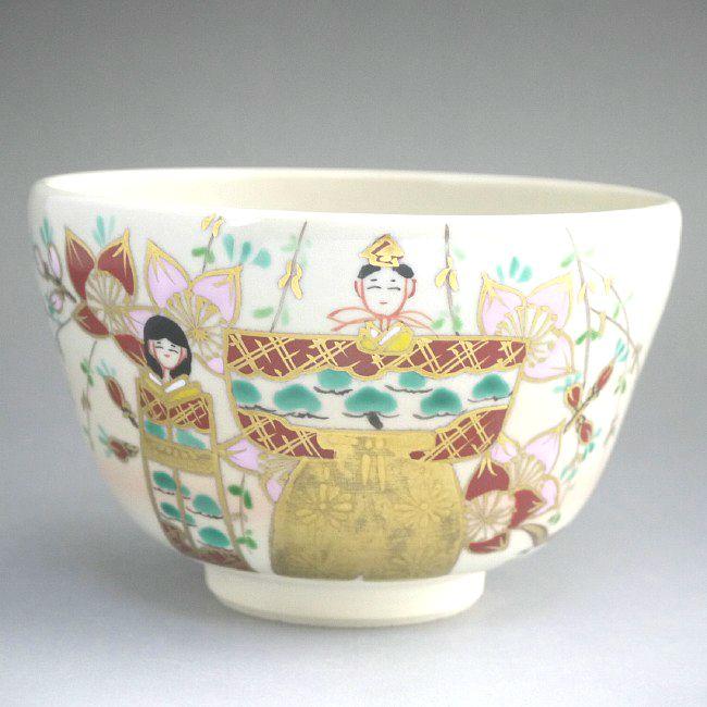 京焼  清水焼 桃立雛抹茶碗 香菊