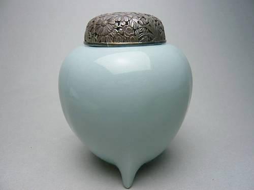 京焼 清水焼 青磁香炉 瓜型 三代蘇山