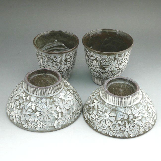 京焼  清水焼 花印華夫婦湯呑と夫婦茶碗セット 清泉