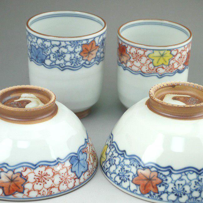 京焼  清水焼 帯雲錦夫婦湯呑と夫婦茶碗セット 陶遊