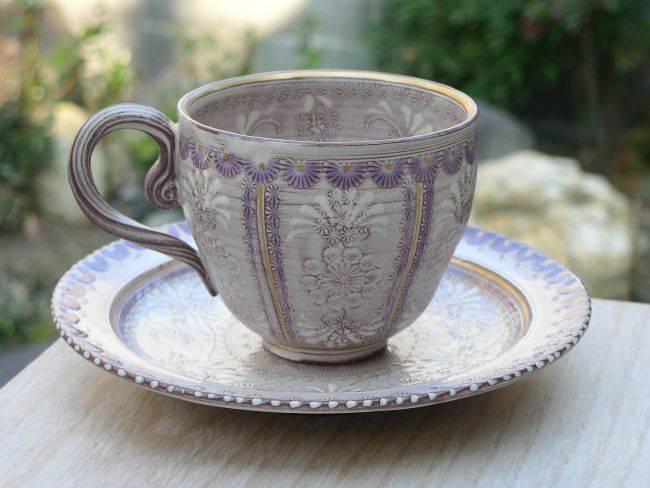 京焼  清水焼 紫彩花紋コーヒー茶碗 陶楽