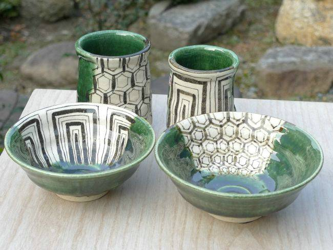 京焼  清水焼 織部夫婦湯呑と夫婦茶碗セット 陶化