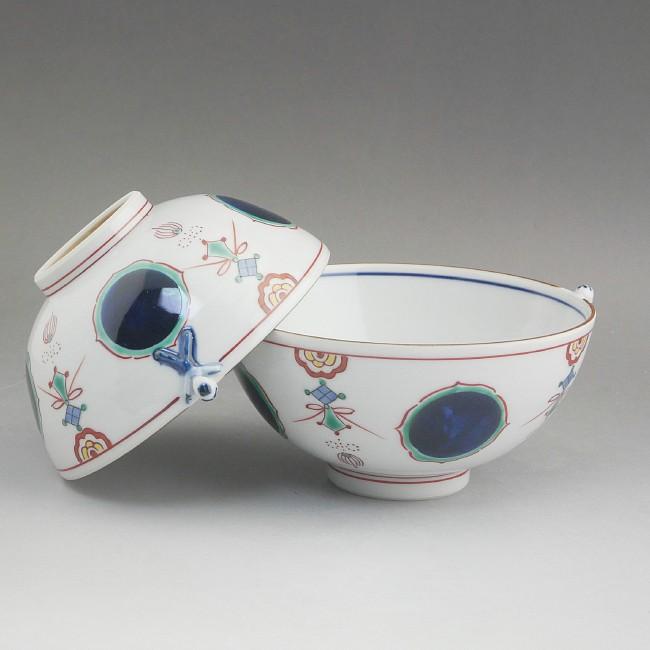 京焼  清水焼 丸紋瓔珞一閑人夫婦茶碗 紫峰
