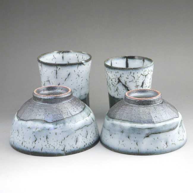 京焼  清水焼 白かひらぎ夫婦湯呑と夫婦茶碗セット 花月