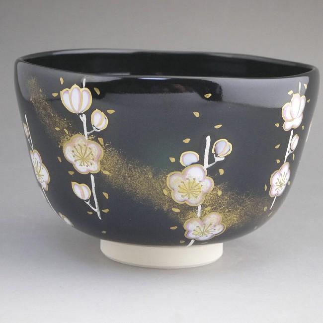 京焼  清水焼 勅題「光」梅に月光抹茶茶碗 善昇