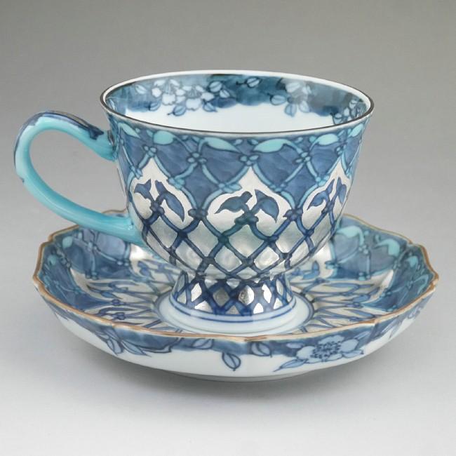京焼  清水焼 銀モスクコーヒー茶碗 京泉