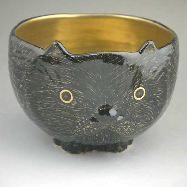 京焼  清水焼 黒猫抹茶茶碗 良二 内金