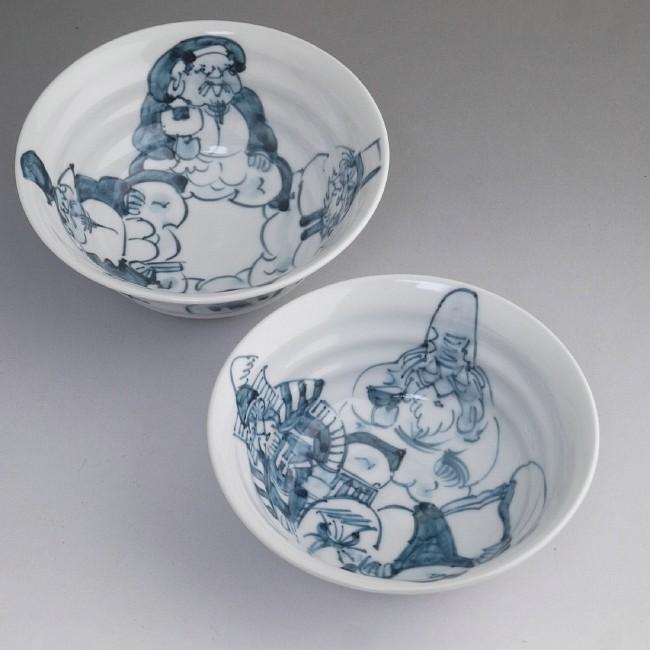 京焼  清水焼 七福神夫婦茶碗 幸之介
