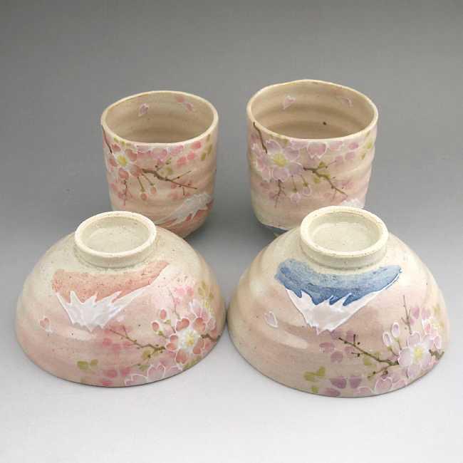 京焼 清水焼 桜に富士夫婦湯呑と夫婦茶碗セット 瑞光