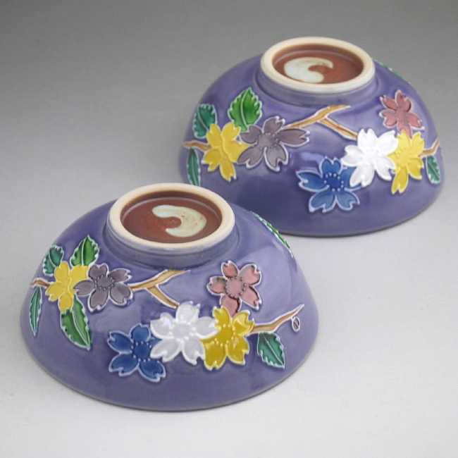 京焼  清水焼 紫交趾山吹夫婦茶碗 昇峰