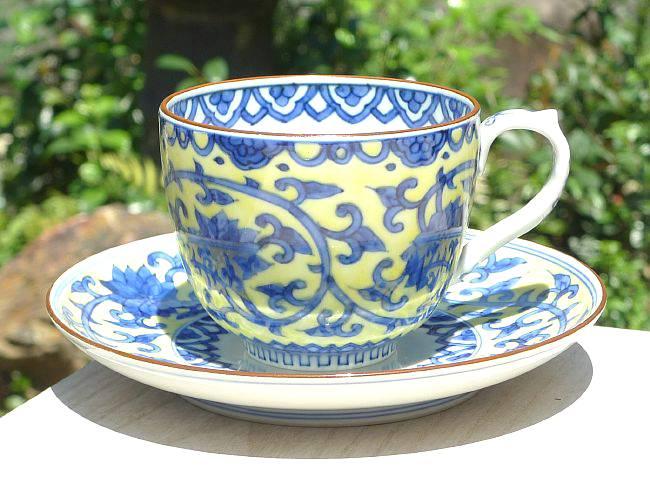 京焼  清水焼 黄濃唐草コーヒー碗