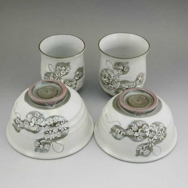 京焼 清水焼 粉引六瓢夫婦湯呑と夫婦茶碗セット 清泉