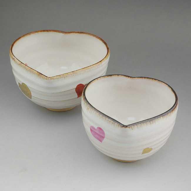 京焼  清水焼 ハートペア茶碗 白白 良二