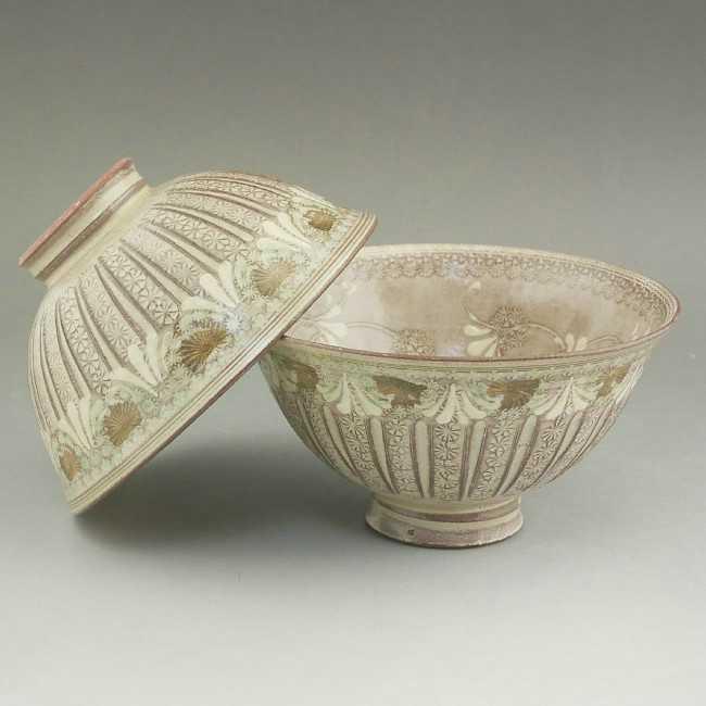 京焼 清水焼 紫翠紋夫婦茶碗 陶楽