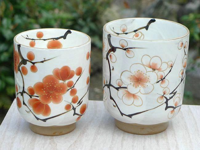 京都陶瓷清水烤红和白色梅花情侣杯瓷果酱图片