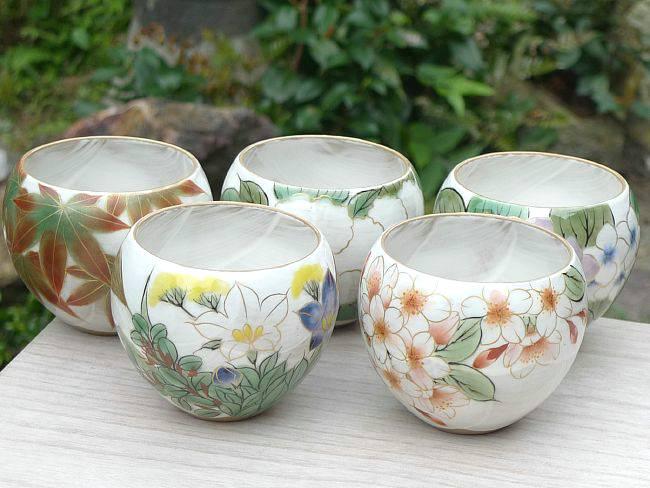 京焼  清水焼 花変わりお茶呑み茶碗揃え 陶あん